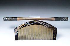 lacquering hair comb, kushi and kogai, lacquering kogai and kushi, hair comb japanese, japanese hair comb, comb kogai and kushi, by JapaVintage on Etsy