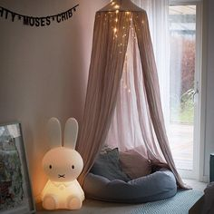 bean bag stuffed with led lights kid's reading corner with Miffy lamp. This looks so cozy I want to curl up in there with a hot chocolate and good book myself! Canopy Bedroom, Girls Bedroom, Bedroom Decor, Bedrooms, Reading Corner Kids, Kids Corner, Reading Nooks, Reading Tent, Kid Decor