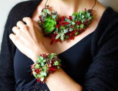 Wearable Succulent Necklace & Cuff | Floral Design By Lili