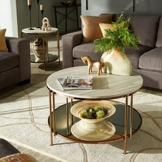 Shop Celsus Champagne Gold Finish Cocktail Table or Table Set with Faux Marble Top and Mirror Bottom by iNSPIRE Q Bold - On Sale - Overstock - 27883704 Round Coffee Table Modern, Coffe Table, Gold Table, Iron Decor, Table Dimensions, Home Room Design, Decorating Coffee Tables, Living Room Decor, Table Settings