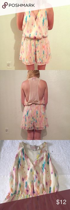 "Rory Beca for F21 Pastel Sheer Back Romper Rory Beca for Forever21 Pastel Sheer BacK Romper. Has a sheer racer back, the rest is double layered. Snap front closure and elastic waist. Size M measures flat: 16"" across chest, 14-18"" at elastic waist, 21"" across hips, 2"" inseam. 100% polyester. There are a couple of snags on the backside, see last pic for the worst of them. 730/200/081416 Forever 21 Dresses"