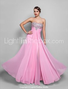 Formal Evening/Prom/Military Ball Dress - Candy Pink Plus Sizes A-line Strapless Floor-length Chiffon 2015 – $113.99