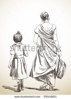 Sketch Eyes Sketch of walking mother and daughter from school, Hand drawn illustration - Human Figure Sketches, Human Sketch, Human Figure Drawing, Figure Sketching, Art Drawings Sketches, Cool Drawings, Pencil Drawings, Beautiful Drawings, Hair Drawings
