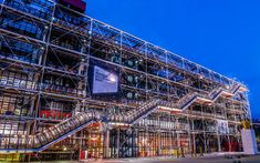 beaubourg area with the pompidou center museum cityscape of Paris in france Renzo Piano, Structural Expressionism, Centre Pompidou, Grand Entrance, World Trade Center, Building Design, Stairways, Facade, Exterior