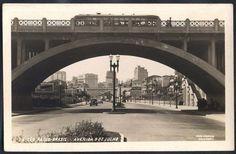 São Paulo - Avenida 9 de Julho - Foto Postal antigo original, nº 24, onibus sobre o viaduto, editado por Colombo, não circulado.