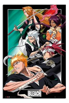 Bleach Manga Anime Group Poster Cork Pin Memo Board Silver Framed - x 66 cms (Approx 38 x 26 inches) Bleach Fanart, Bleach Manga, Bleach Tv, Dragon Ball Gt, One Punch Man, Death Note, Boruto, Sailor Moon, Samurai