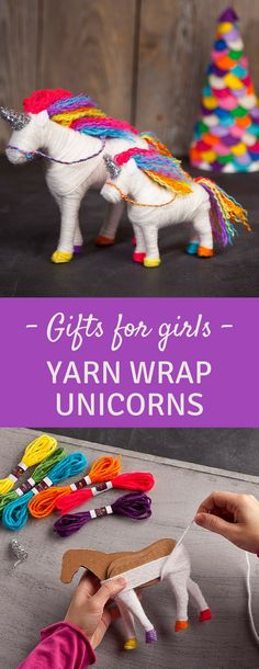 Yarn Wrap Unicorns - Gifts for Girls - Birthday - Christmas #ad #christmas #birthday #girl #giftideas #unicorn #craft
