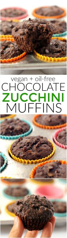 You'd never guess these incredibly moist 100% whole grain Vegan Chocolate Zucchini Muffins have zero oil and are packed with veggies! Whip up a batch for easy healthy breakfasts on-the-go.