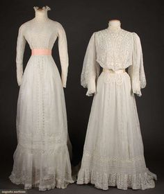 TWO WHITE TEA GOWNS, - Both white cotton lawn w/ elaborate Val. Lace inserts & high neck collars: 1 w/ mono-bosom & full sleeves Edwardian Clothing, Edwardian Dress, Historical Clothing, 1900s Fashion, Edwardian Fashion, Vintage Fashion, Vintage Gowns, Vintage Outfits, Tea Gown