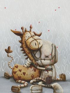 "Fabio Napoleoni ""You Make Me Feel Better"" Limited Edition Canvas Giclee Arte Robot, Robot Art, Goth Art, Voodoo Dolls, Arte Horror, Dark Art, Fantasy Art, Art Drawings, Illustration Art"