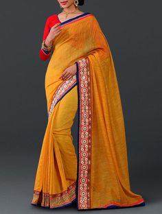 Mustard Cotton Manipuri Silk Saree With Embroidered Lace Border