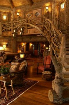 bluepueblo: Tree House Stairs, Minnesota photo via brendaYou can find Log home decorating and more on our website.bluepueblo: Tree House Stairs, Minnesota photo via brenda Fairytale Cottage, Fairytale Home Decor, Fairytale Room, Fairytale Fantasies, Cabin In The Woods, Log Cabin Homes, Log Cabins, Mountain Cabins, Rustic Cabins