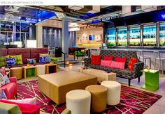 aloft hotel lobby. designed by a team of 47 different designers, working independently from one another. While on acid.