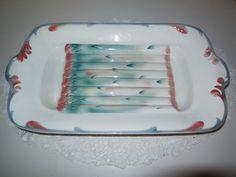 ANTIQUE MAJOLICA PLATTER / DISH -ASPARAGUS- SARREGUEMINES FRANCE - Vintage Plate