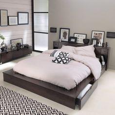 Lit plateforme, 2 places, tête de lit, pin massif, bolton La Redoute Interieurs | La Redoute
