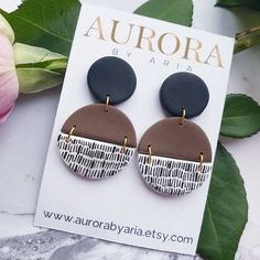 Hand Painted Jewellery Semicircle Earrings Black Brown Dangle Earrings Statement Jewelry Gift for Girl White And Black Accessories Present Diy Earrings Polymer Clay, Polymer Clay Crafts, Handmade Polymer Clay, Clay Design, Bijoux Diy, Creations, Jewelry Making, Hand Painted, Sensitive Ears