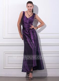 Trumpet/Mermaid V-neck Ankle-Length Ruffle Zipper Up Regular Straps Sleeveless No Grape Spring Summer Fall General Plus Taffeta Evening Dress