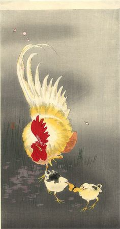 Ohara Koson - Rooster & Chick's