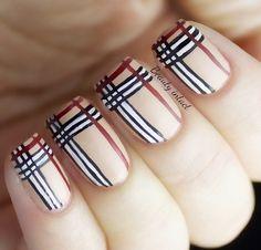Burberry Nails #stripes #nudemani #spring #nailart - bellashoot.com