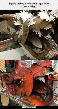 I Got To Make A Cardboard Dragon Head#funny #lol #lolzonline