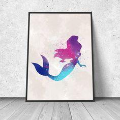 The Little Mermaid, Ariel, watercolor illustration, giclee art print, Disney inspired, silhouette