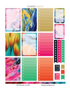 Free Large Happy Planner Printable Planner Stickers - Abstract Paint