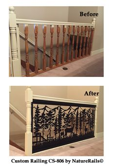 Stair railing with before & after photos. | Upgrade your home or deck by taking out those tired old spindles and replacing it with a modern custom stair #railing in the design and color of your choice.