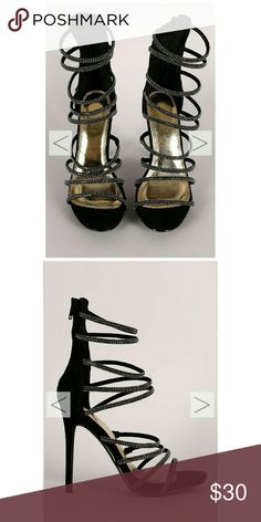 Black Strappy Stiletto Heels Sandals 9 New. Never worn. Comes with box. Downsizing. Shoes Heels