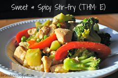 Darcie's Dishes: Sweet and Spicy Stir-fry // Clean out your fridge and make a stir-fry. This is the perfect balance of sweet and spicy. Trim Healthy Mama compatible in an E setting. This dish is sugar-free and gluten-free.