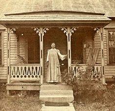 Laura Ingalls Wilder on her front porch
