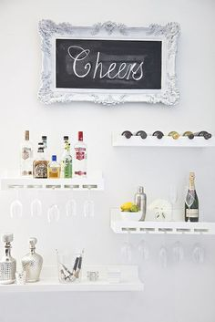 Wet bar on the wall. I l-o-v-e this idea, especially for small