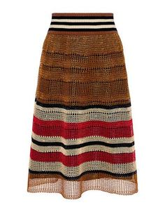 Crochet Striped Knit Skirt by Red Valentino