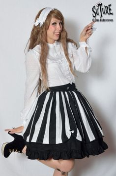 JUICY BAT SKIRT Lolita skirt black and white by SutureClothing