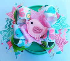 Spring Hair bow dog collar bow Butterfly pink bird by CreateAlley