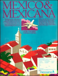 1979 Mexicana Airlines Vintage Print Ad // MexicoTravel Poster // Vintage Advertisement for Cancun, Cozumel, Puerto Vallarta, Acapulco, etc.