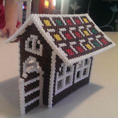 3D Christmas perler bead gingerbread house by ekapeka80