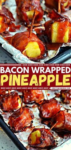 5 reviews · 60 minutes · Serves 24 · Guests are going to love this easy appetizer! Based with a semi-sweet, slightly spicy Oriental sauce then baked to crispy golden perfection, these Bacon Wrapped Pineapple Bites are one of the best… More Camping Appetizers, Bacon Appetizers, Finger Food Appetizers, Appetizers For Party, Appetizer Recipes, Delicious Appetizers, Appetizer Dips, Healthy Appetizers, Meat Recipes