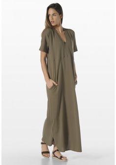 LONG COTTON CREPE DRESS
