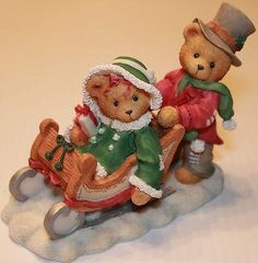 1996 CHERISHED TEDDIES - LINDSEY & LYNDON - FALL CATALOG EXCLUSIVE - SLED SLEIGH - FREE SHIP at Yardsellr