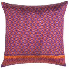 I mix it up with accent pillows on my bed. This Thai Silk Ikat adds a splash of color to the sea of indigo bedding. Orange Throw Pillows, Accent Pillows, Color Splash, Color Pop, Textile Patterns, Textiles, Purple Rooms, Purple Stuff, Clemson