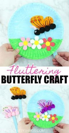 Paper Plate Fluttering Butterfly Craft - Spring Crafts For Kids Kids Crafts, Summer Crafts For Kids, Jar Crafts, Toddler Crafts, Creative Crafts, Preschool Crafts, Diy For Kids, Craft Projects, Arts And Crafts