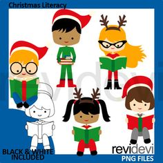 Christmas reading clipart featuring boys and girls read a book. Fun clip art for Christmas activities and centers. Just perfect for literacy, ELA reading, book club, and library theme projects! Both color and black and white graphics are included. Great resource for