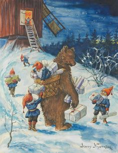 Bear and gnomes delivering presents. (Artist: Jenny Nystrom.)