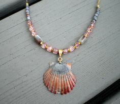 Pink grey & gold sea scallop shell pendant necklace by phoebemoll, $30.00