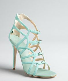 Giuseppe Zanotti aqua shimmer suede cutout buckle vamp sandals