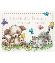 """Pet Friends Baby Birth Record Counted Cross Stitch Kit-12""""X9"""" 14 CountPet Friends Baby Birth Record Counted Cross Stitch Kit-12""""X9"""" 14 Count,"""