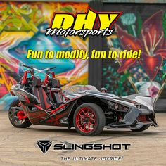 #DHYMotorsports has 2019 #Polaris #Slingshots the fun and affordable 3-wheel bike that is the #UltimateJoyRide! Starting at just $17,488 for a 2019 #SlingshotS, you'll have money left over for a few mods. Polaris Slingshot, Joy Ride, Used Motorcycles, 3rd Wheel, Bike, Money, Cars, Fun, Bicycle