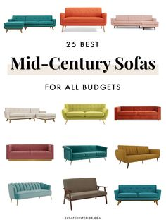 Mid-century Sofas for all budgets! Get a mid-century modern sofa for your living room and take in the retro vibes! Mid-century Sofas for all budgets! Get a mid-century modern sofa for your living room and take in the retro vibes! Mid Century Couch, Mid Century Modern Dining Room, Mid Century Living Room, Mid Century Modern Decor, Décor Boho, Interiores Design, Mid-century Modern, Modern Living, Eclectic Modern