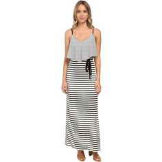 Brigitte Bailey Knit Stripe Popover Maxi w/ Cage Back Dress Women's... ($23) ❤ liked on Polyvore featuring dresses, multi, cut out dress, cutout maxi dress, maxi dress, white cut out dress and white dress
