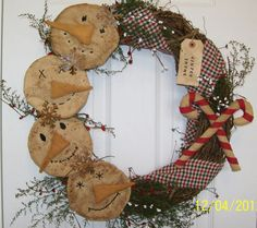 Primitive-Christmas-Winter-Country-Folk-Art-Snowman-Wreath-Winter-Thyme